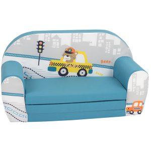 Gyermek kanapé - mackó taxisofőr | türkiz